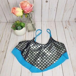 Justice Turquoise Silver Mermaid Bikini Top